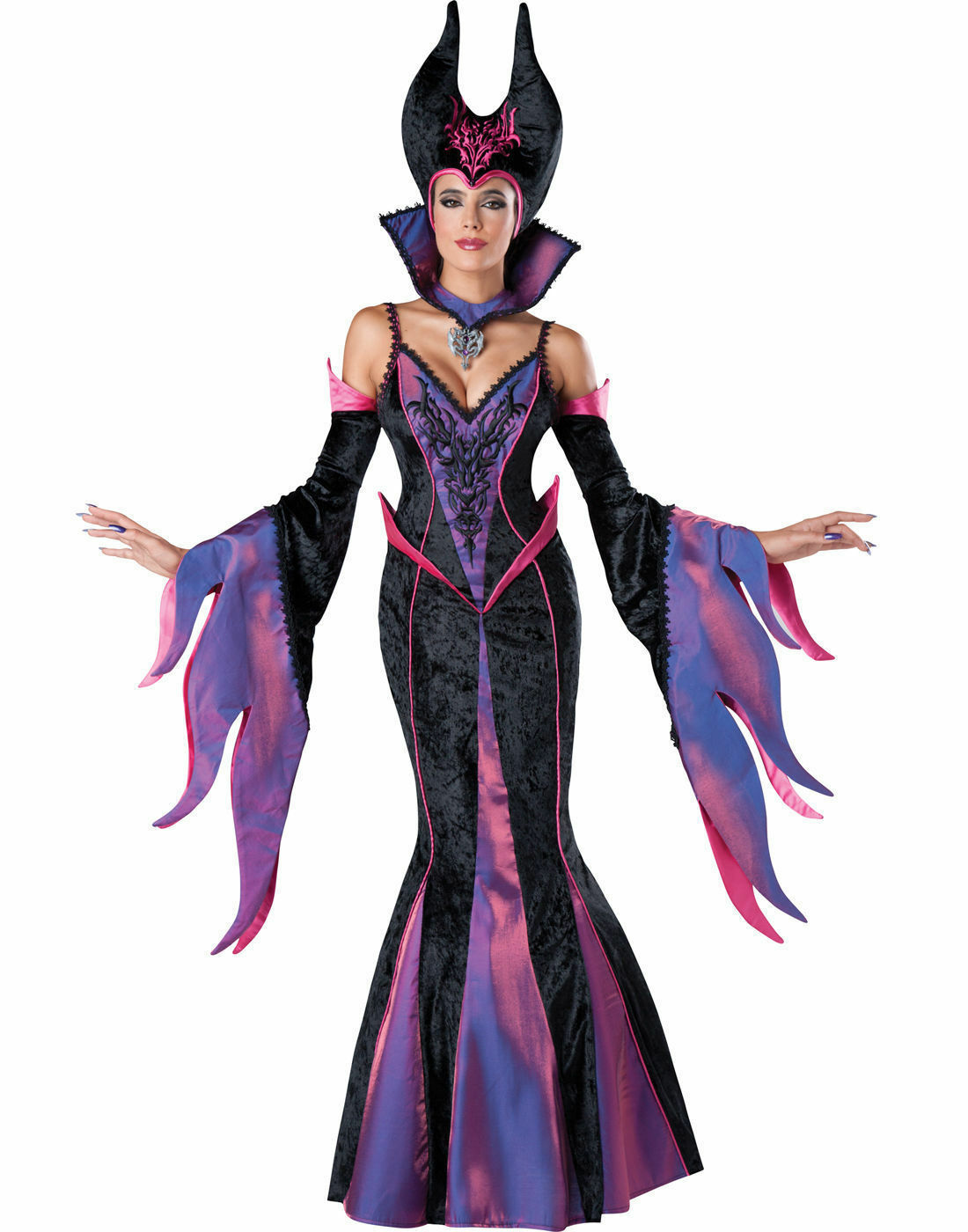 Details About Dark Sorceress Maleficent Disney Evil Queen Sleeping Beauty Womens Costume Uk