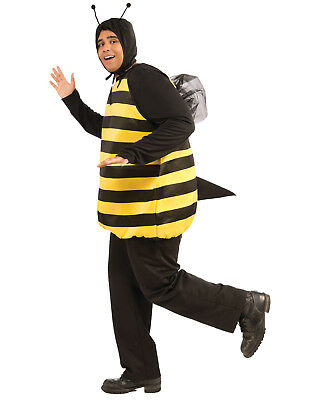 Bumble Bee Costume For Men (Adult Male Bumble Bee Costume Black & Yellow Stripped Bee Jumpsuit)