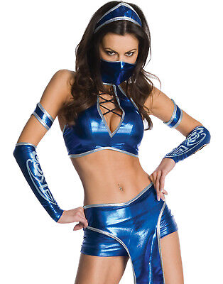 Kitana Halloween Costume (Mortal Kombat Kitana Sexy Blue Ninja Fighter Womens Halloween)