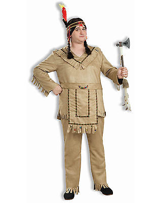 Plus Size Mens Native American Chief Indian Halloween Costume XXL Brave Warrior