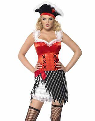 Feurig Piratenbraut Sexy Rot Damen Kleid mit Schickem Hut Halloween Kostüm