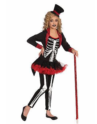 Miss Knochen Jangles Mädchen Kind Skelett Zirkusdirektor Kostüm