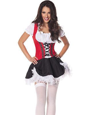 Beer Maiden Red Black Oktoberfest Bar Wench Halloween Costume
