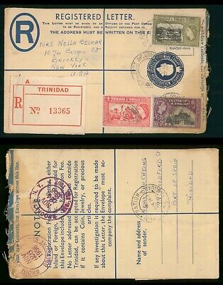 Mayfairstamps Trinidad & Tobago 1955 Registered uprated Stationery to US Cover w