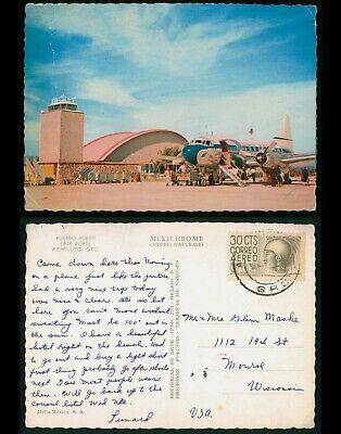 Mayfairstamps Mexico to Monroe WI Airport Acapulco Postcard wwo_57023