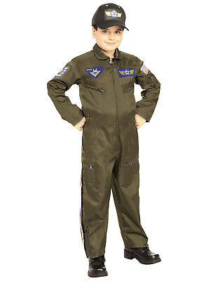 Kids Military Aviator Air Force Fighter Pilot Jumpsuit Army Costume](Army Pilot Costume)