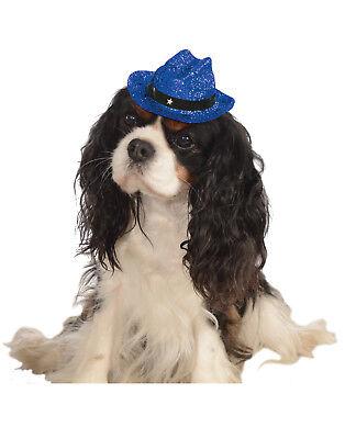 Blau Glitzer Glänzend Haustier Hund Katze Western Cowboy - Hund Western Kostüm