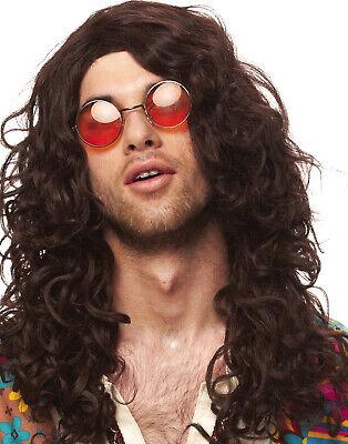 Mens Hippie Rock Star Jim Morrison Mens Brown Curly Wig - Star Wig
