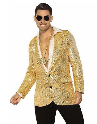 Disco Gold Pailletten Herren Erwachsene 80er Jahre Fever Halloween Kostüm Blazer