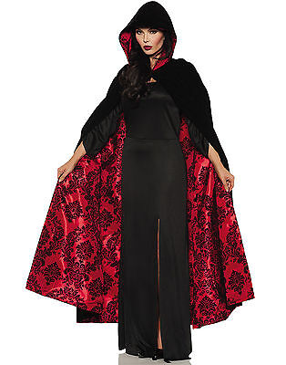 Vampire Witch Black Velvet Cape with Red Satin & Blk Embossed - Black Cape With Red Lining