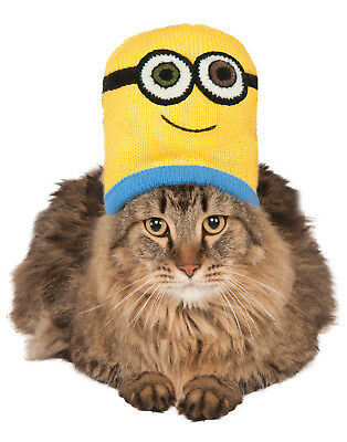 Despicable Me Pet Minion Bob Knit Cat Costume Headpiece Hat Beanie](Minion Cat Costume)