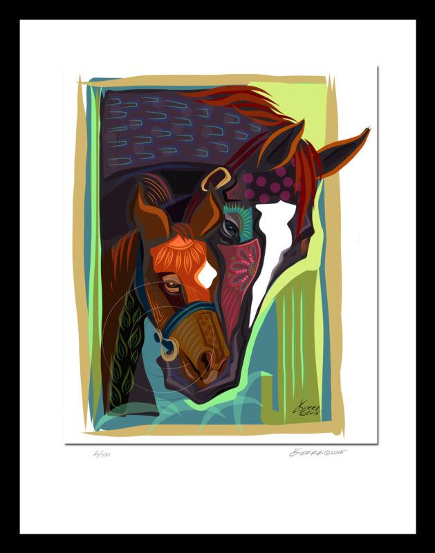 Zenyatta & Foal Horse Racing Artist  Equine Print  Signed + Numbered SFASTUDIO