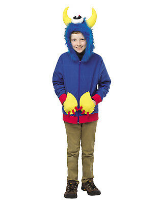 Blue Monster Creature Teen Halloween Costume Hoodie Sweater-13-16