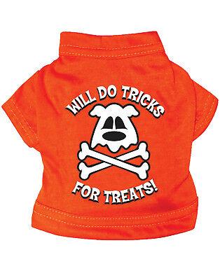Tricks für Leckerli Knochen Hund Katze Orange Shirt Halloween Haustier COSTUME-M
