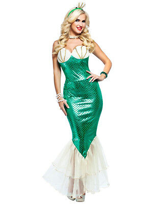 Green White Adult Magical Mermaid Ariel Halloween Costume Dress (Halloween Costume White Dress)