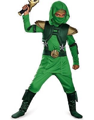 Kinder Grün Master Ninja Deluxe Kampfsport Krieger Halloween Kostüm