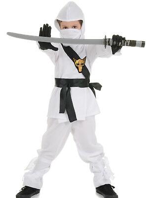 White Ninja Dragon Fighter Boys Fancy Dress Halloween Party Costume - Uw Halloween Party