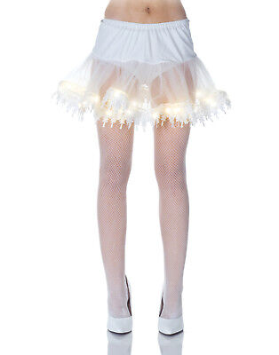 White Light Up Petticoat Tutu Burlesque Womens Fancy Dress Costume Accessory - Tutu Lightup Kostüm