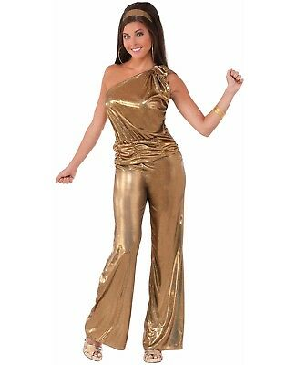 Gold Overall Disco Damen Diva Halloween Kostüm Frauen Std