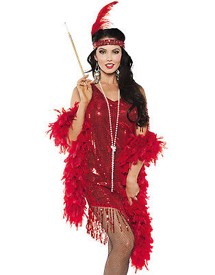 Red Sequined Swinging Flapper Dress 20'S The Great Gatsby Halloween Costume - Red Flapper Dress Costume