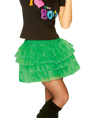 80'S Petticoat Skirt New Wave Madonna Party Girl Green Womens Halloween Costume (80's Party Girl Halloween Kostüm)