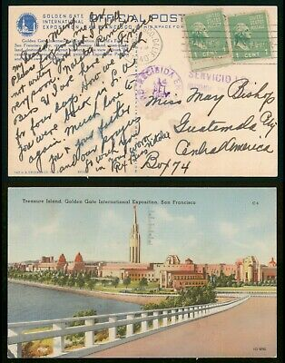 Mayfairstamps Expo PC 1940 Treasure Island Golden Gate Prexies to Guatemala Post