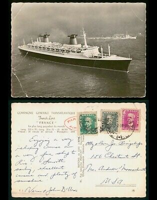 Mayfairstamps Brazil PC to Andover MA French Line France Postcard wwo_57025