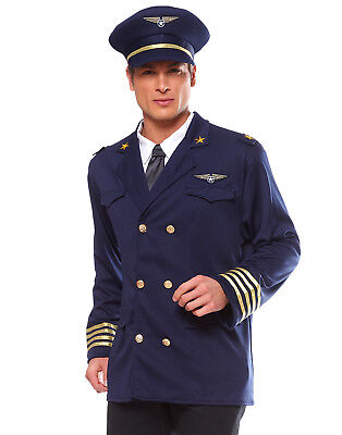 Pilot Airplane Captain Aviator Mens Stag Party Costume Halloween Costume Std