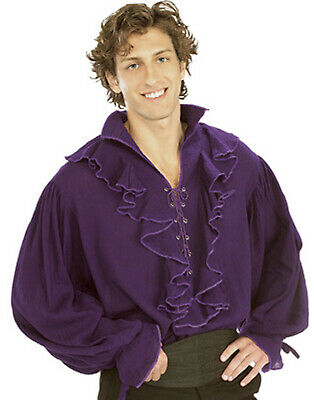 Pirate Puffy Shirt Vampire Ruffle Gauze Blouse Men Halloween Purple Shirt