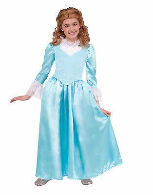 Blau Kolonial Damen Mädchen Kind Renaissance Halloween Kostüm (Kolonial Dame Kind Kostüme)