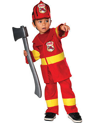 Children's Firefighter Halloween Costume (Baby Red Yellow Firefighter Fireman Kids Halloween Costume)