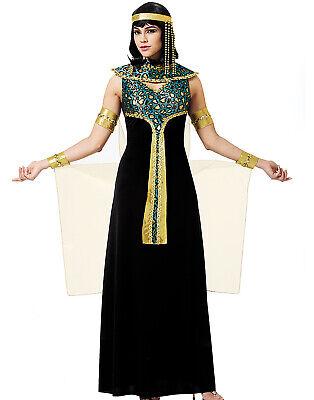Damen Sexy Ägyptische Kleopatra Göttin Prinzessin Schwarz Halloween (Sexy Ägyptische Prinzessin Kostüm)