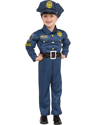 Top Cop Boy Child Muscle Chest Police Blue Uniform Halloween Costume
