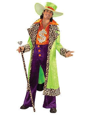 Big Daddy Pimp 70'S 80'S Multicolored Leopard Trim Sugar Daddy Costume - Sugar Daddy Costume