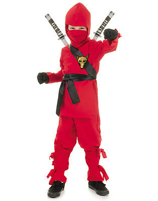 Rot Ninja Hinterlistiger Warrior Jungen Kämpfer Kinder Halloween - Ninja Warrior Kind Kostüm