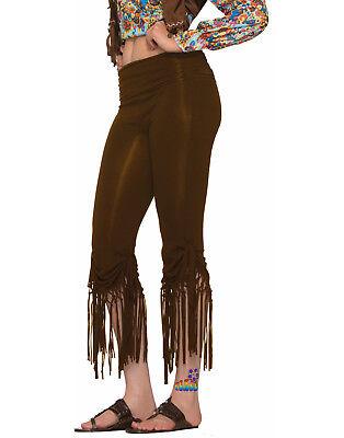 Hippie Fringed Cut Off Pants 60'S 70'S Brown Costume (Cute Hippie Kostüm)