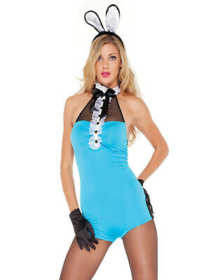 Playboy Playmate Romper Sexy Bunny Suit Womens Halloween Lingerie Costume - Playboy Suit
