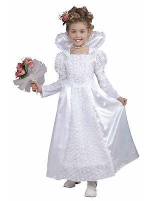 Bride Princess Girls Child White Wedding Dress Halloween Costume