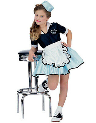 Girls 50'S Car Hop Diner Waitress Classic Costume - Girls Car Hop Costume