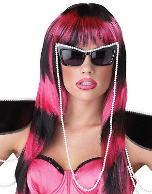 Lady Gaga Untamed Blk/Pink Lang Sexy Damen Halloween Kostüm-zubehör Perücke ()