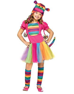 Fun World Kids Rainbow Sock Monkey Child Costume SMALL 4-6 NEW (Sock Monkey Costume For Girls)