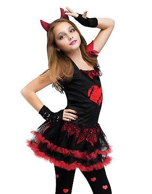 Kids Girls Child Demon Black Devil Red Evil Dress Up Diva Halloween - Devil Diva Costume