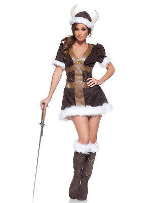 Viking Princess Sexy Nordic Womens Fancy Dress Halloween Hens Party Costume (Viking Princess Costume)