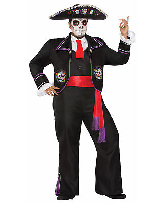 Mariachi Day Of The Dead Macabre Adult Mens Halloween Costume-Xl