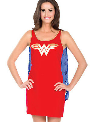 Wonder Woman Tank Dress & Cape Sexy Female Dc Comics Adult Costume Halloween M](Female Marvel Halloween Costumes)