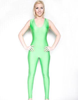 Neon Green Sleeveless Dance Unitard Shiny Spandex Dancewear Bodysuit