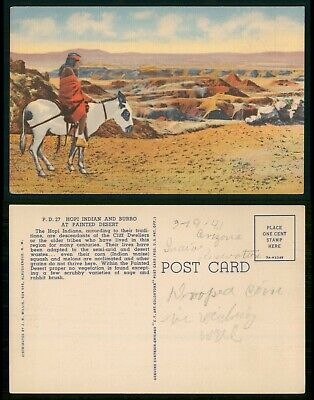 Mayfairstamps Art Hopi Indian on Burro Painted Desert Postcard wwo_64347