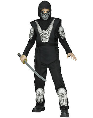 Black Demon Ninja Boys Dark Assassin Warrior Halloween Costume (Dark Assassin Kostüm)