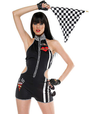 Queen Of Speed Grand Prix Hottie Womens Race Car Romper Halloween Costume](Race Car Costumes For Women)