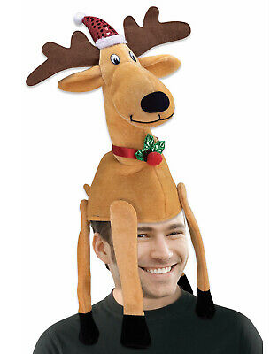 Reindeer Christmas Hat Adult Funny 3D Holiday Costume Accessory - Funny Christmas Hats Adults